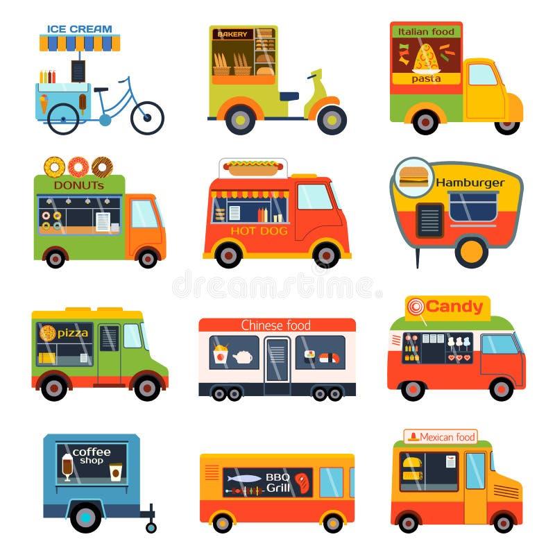 De aanhangwagens vectorreeks van de voedselvrachtwagen stock illustratie