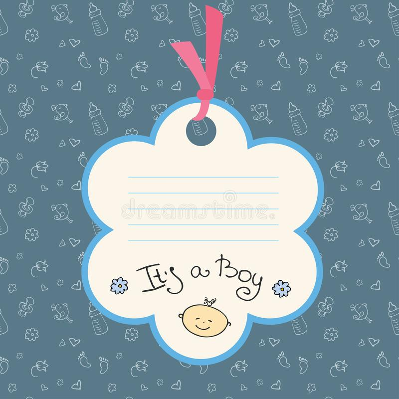 De aankomstkaart van de babyjongen of douchekaart Plaats voor tekst vector illustratie
