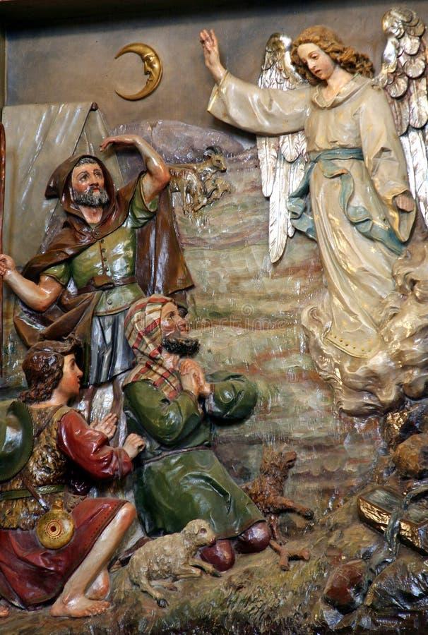 De aankondiging, Engel kondigt de geboorte van Jesus, Stitar, Kroatië aan stock afbeelding