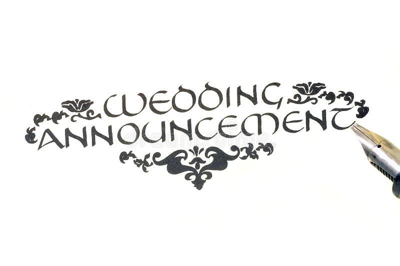 De Aankondiging van het huwelijk [Kalligrafie} royalty-vrije stock foto's
