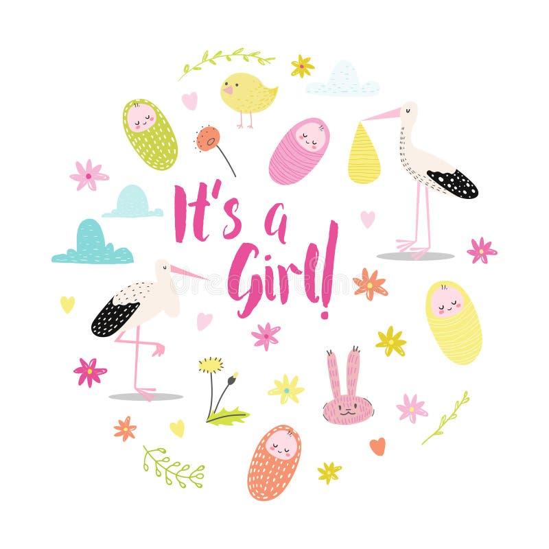 De aankondigingskaart van de babydouche Pasgeboren de Partijuitnodiging van de Kindverjaardag Zijn een Meisjes Kinderachtige Krab stock illustratie