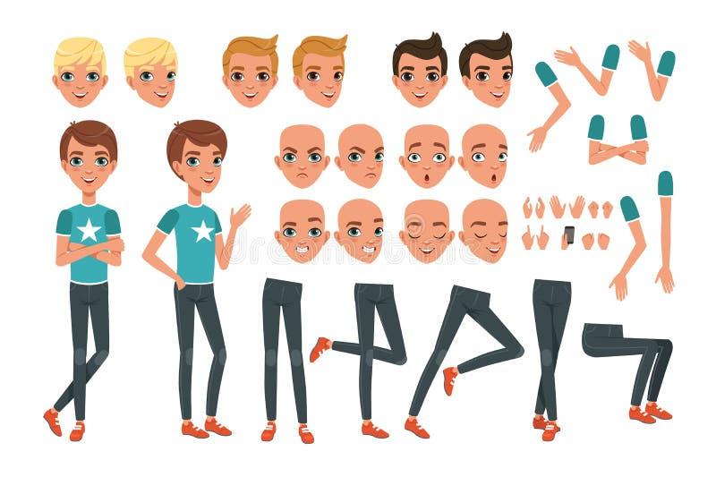 De aannemer van het jonge mensenkarakter met lichaamsdelenbenen, wapens, handgebaren Boos, ontevreden, verrast en kalm gezicht stock illustratie
