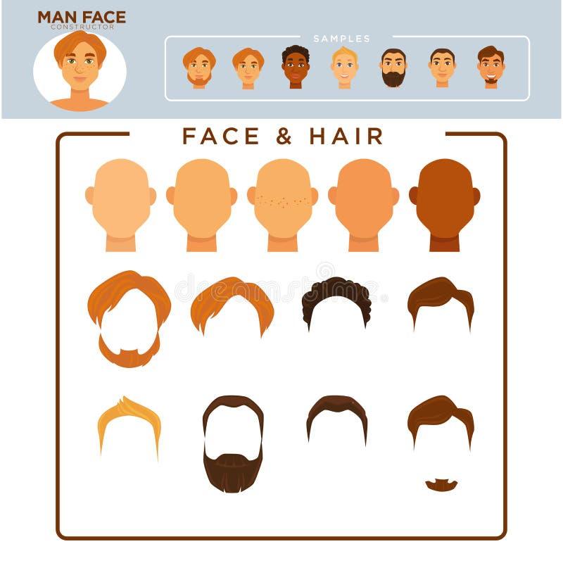 De aannemer van het mensengezicht met steekproef van moderne kapsels stock illustratie