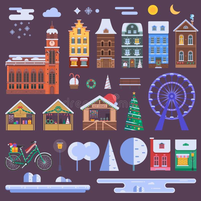 De Aannemer van de Kerstmisstad royalty-vrije illustratie