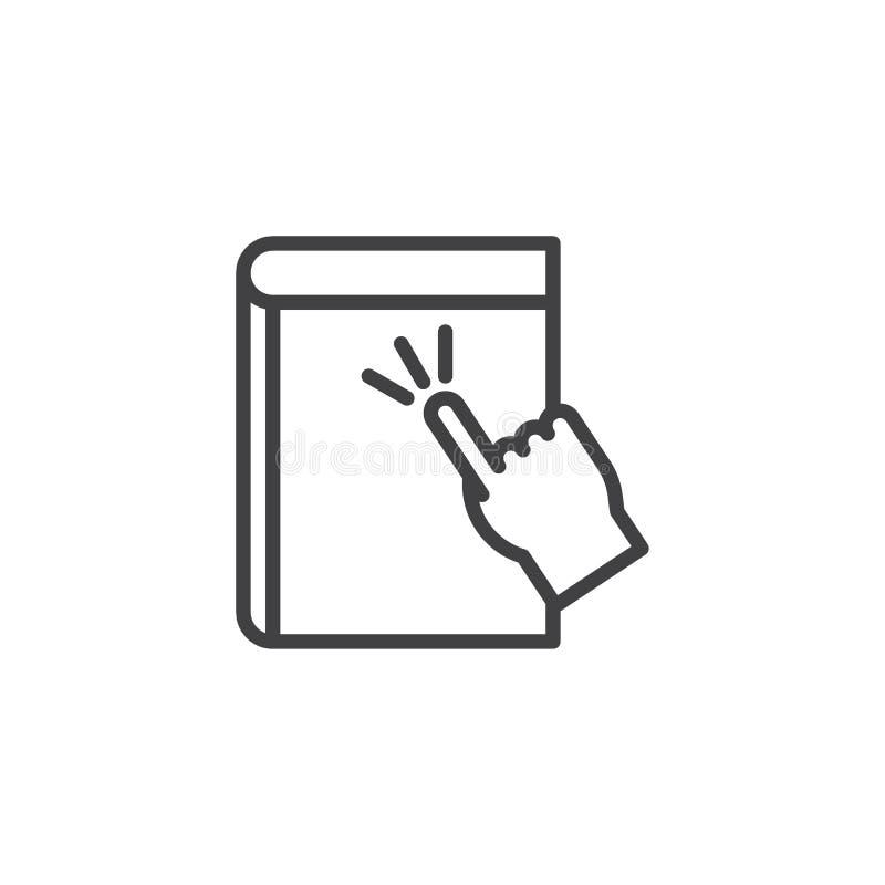 De aanraking eBook schetst pictogram vector illustratie