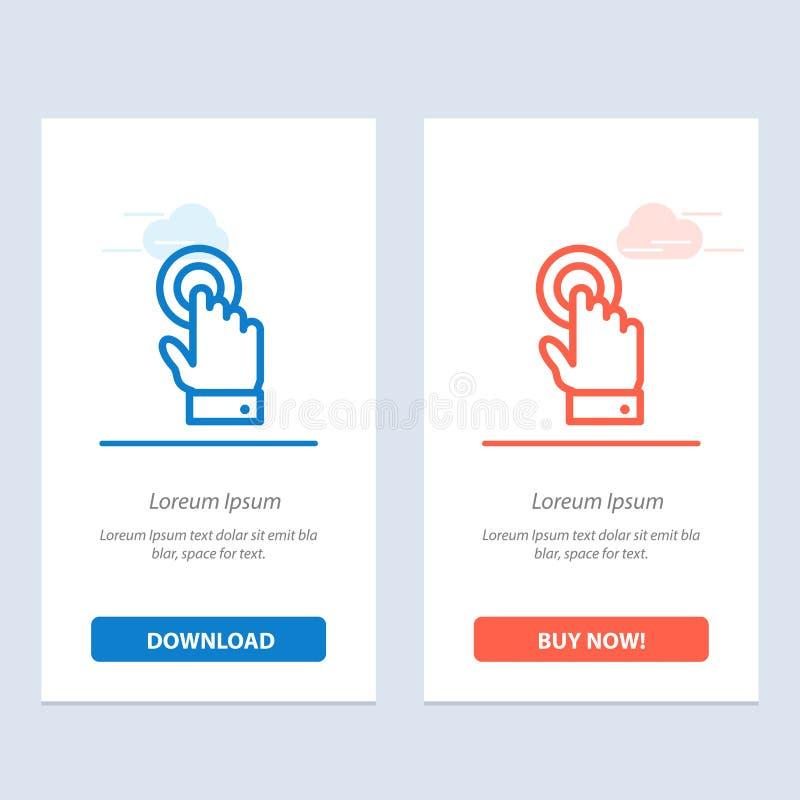 De aanraking, Touchscreen, de Interface, de Technologie Blauwe en Rode Download en kopen nu de Kaartmalplaatje van Webwidget royalty-vrije illustratie