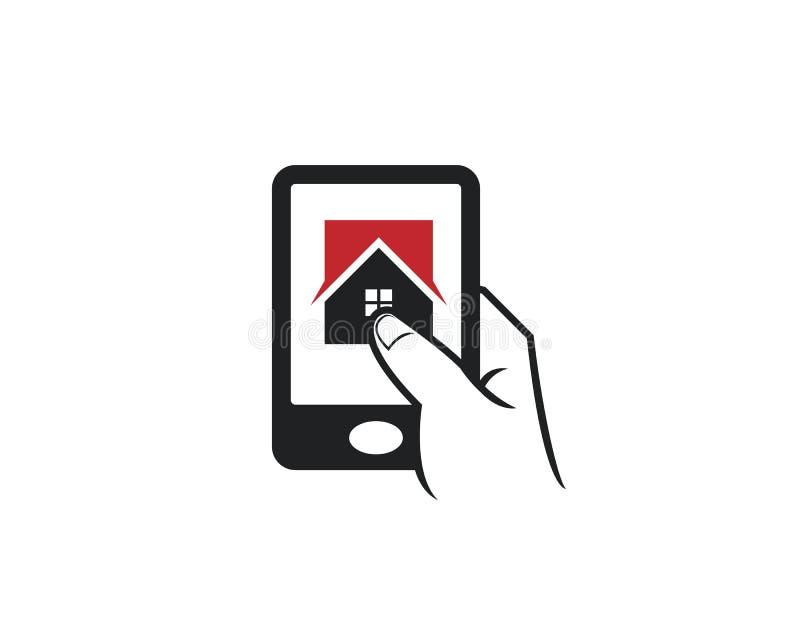 De aanrakings apps pictogram van de celtelefoon voor het bedrijf van de het huisarchitectuur van huisonroerende goederen mortgate stock illustratie