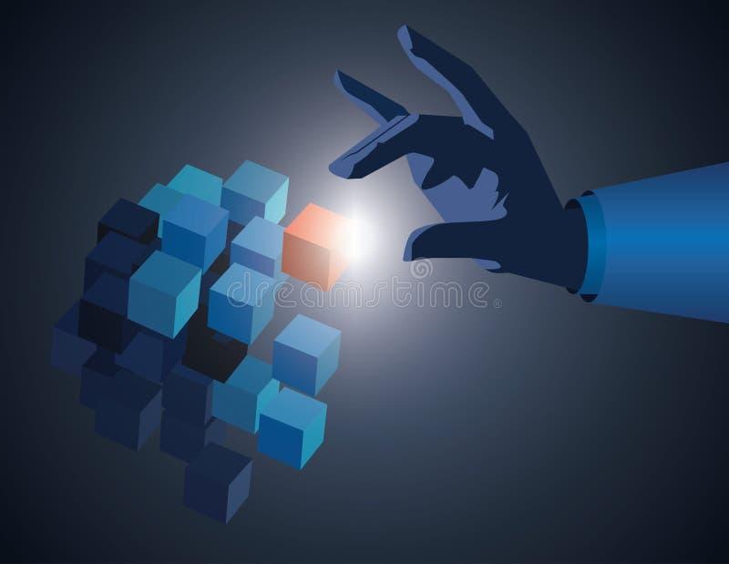 De aanrakingskubus van de zakenmanhand als symbool van probleem het oplossen aanraking stock illustratie