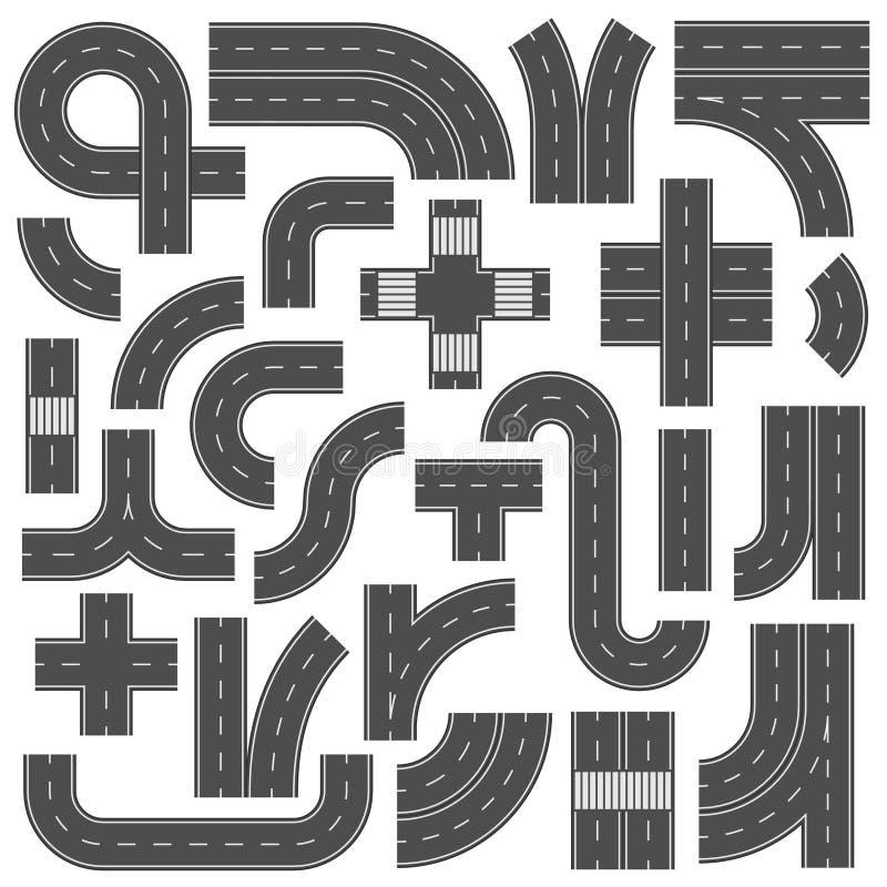 De aansluitbare elementen van de wegweg Kruispunten, voetpad en speedwaybaanverbindingsteken De wegen van de asfaltstraat met het royalty-vrije illustratie
