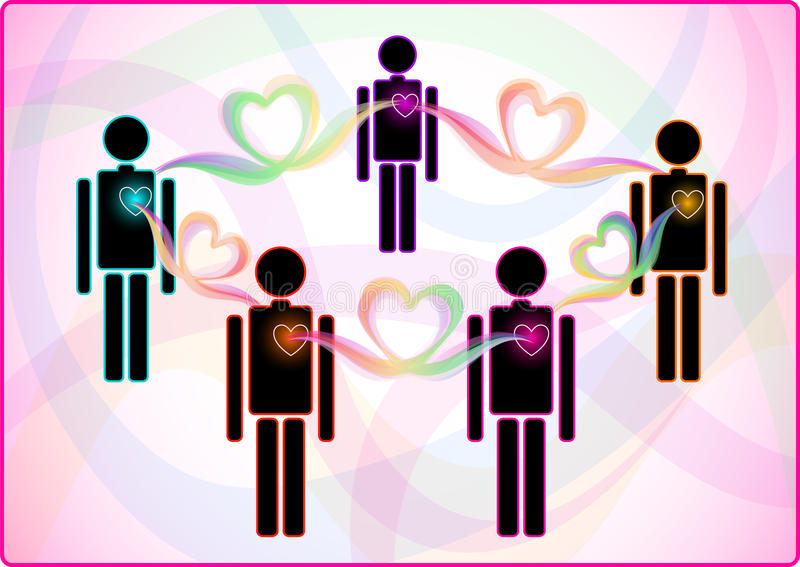 De aansluting van het hart tussen mensen royalty-vrije illustratie