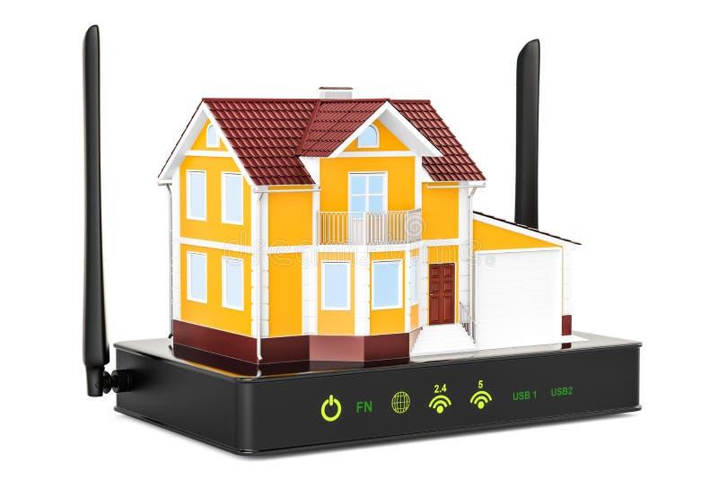 De aansluting van Internet concept Draadloze Internet-router met huis vector illustratie