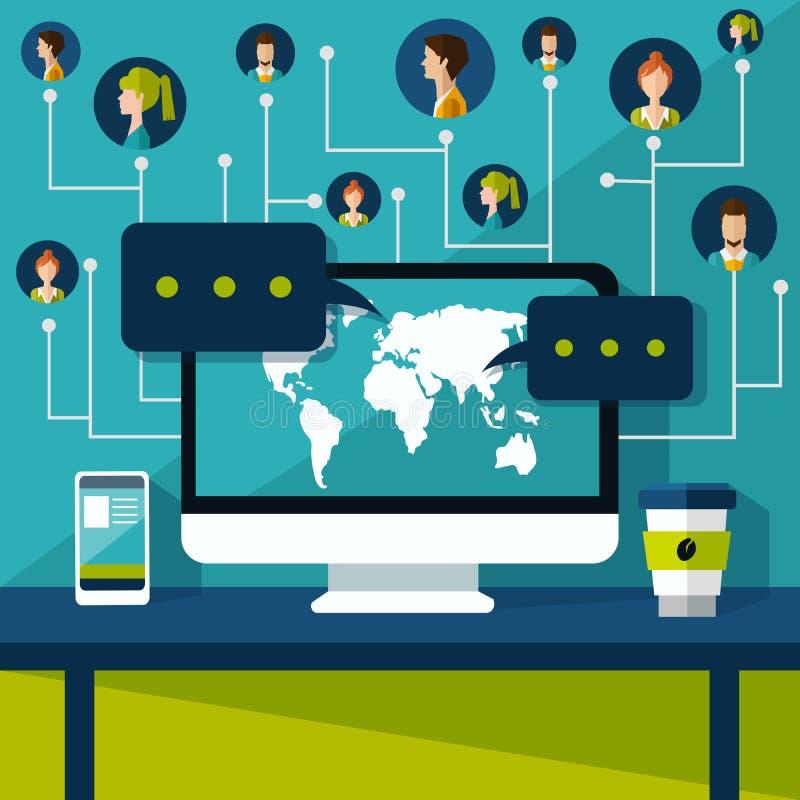 De aansluting van Internet Sociaal netwerk royalty-vrije illustratie