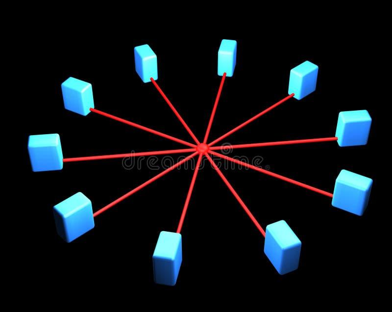 De aanslutingen van de het netwerkserver van Internet royalty-vrije illustratie