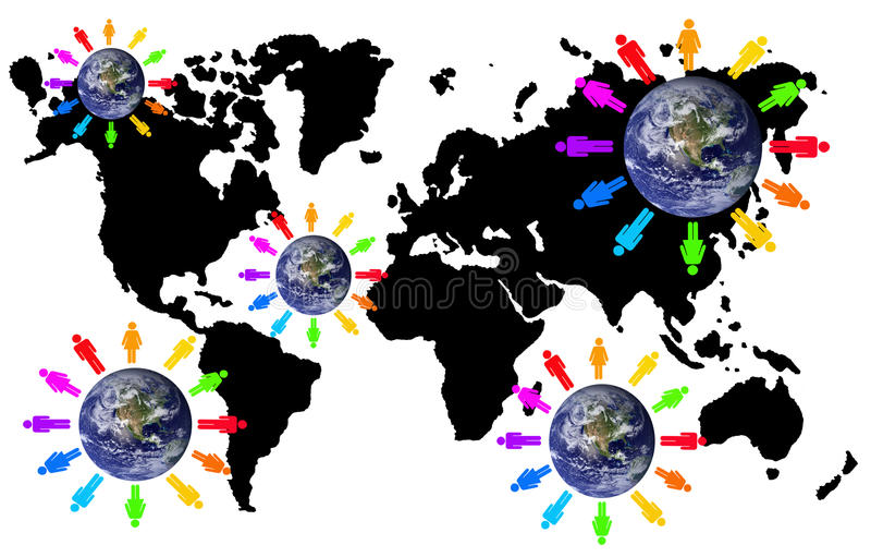 De aanslutingen van de wereld vector illustratie