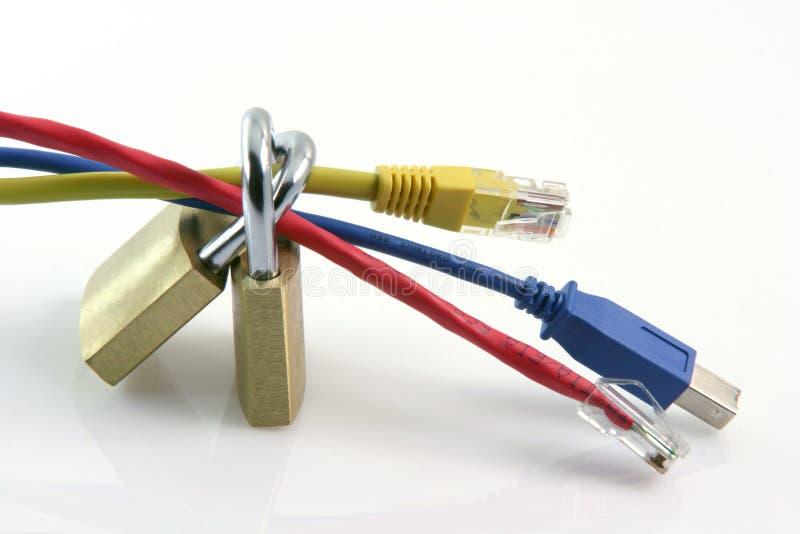 De aanslutingen van het netwerk brandkast stock foto