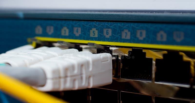 De Aanslutingen van het Netwerk van de router stock afbeelding