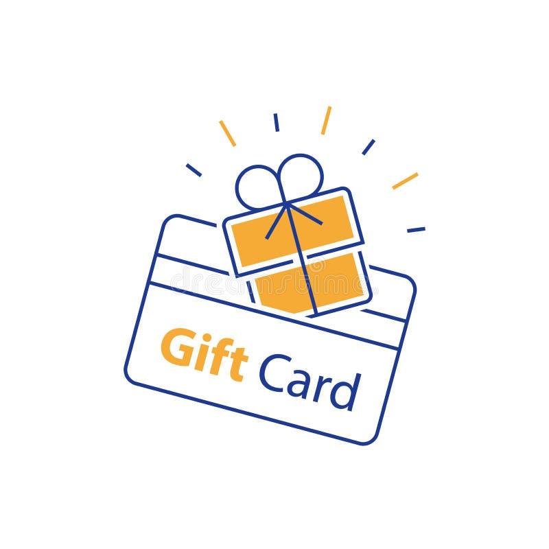 De aansporingsgift, loyaliteitskaart, die bonus verzamelen, verdient beloning, terugkoopt gift, het winkelen extra voordelen, kor vector illustratie