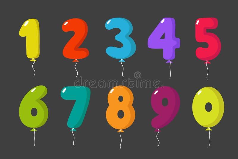 De aantallen van de beeldverhaalballon voor van de de jonge geitjespartij van de verjaardagspret van de de vieringsuitnodiging ge royalty-vrije illustratie