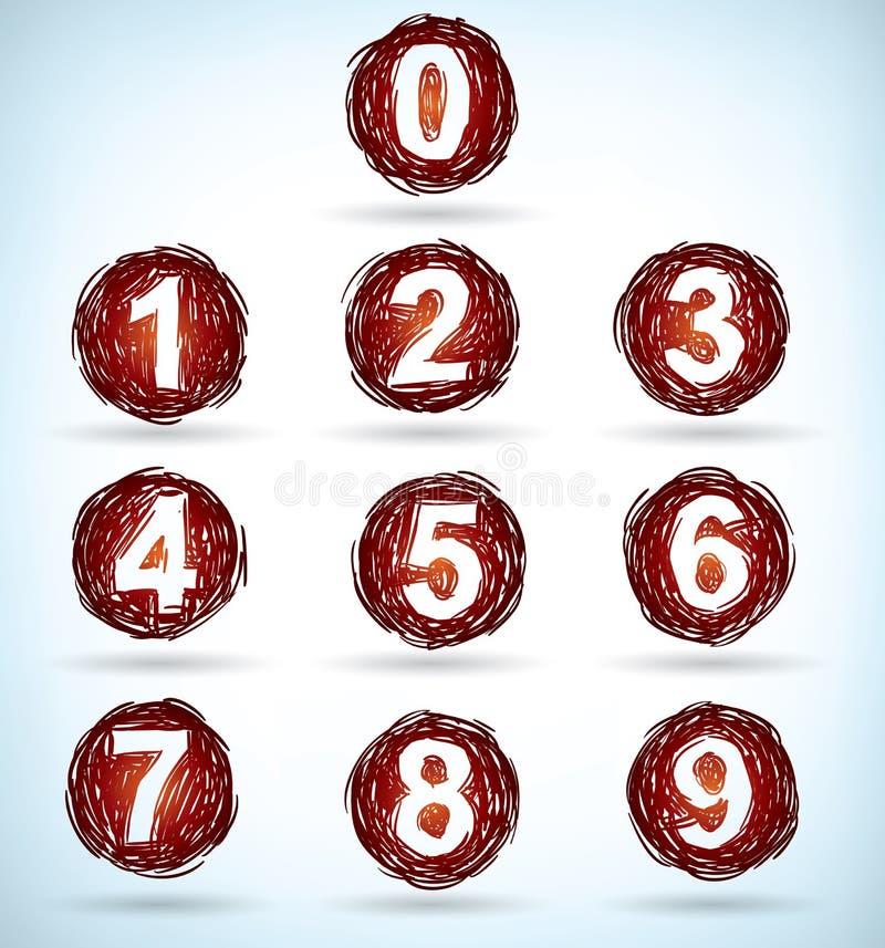 De aantallen van Doodled vector illustratie