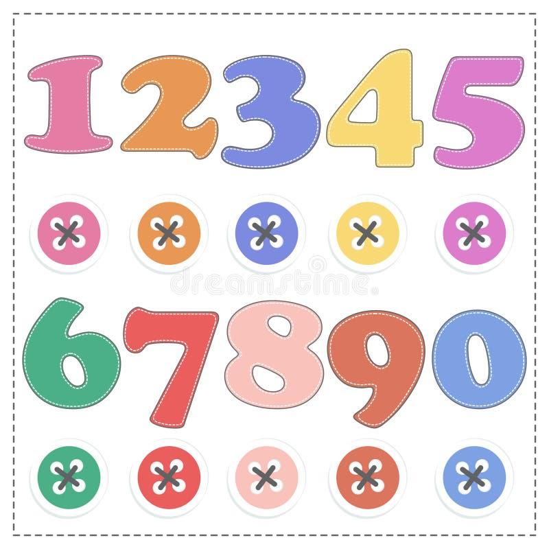 De aantallen van 1 tot 9, het Vectorbeeldverhaal van de pluchewiskunde vector illustratie
