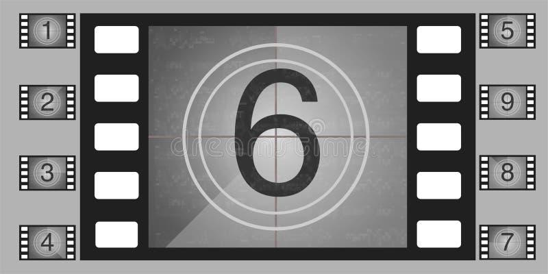 De aantallen vectorreeks van de filmaftelprocedure De aftelprocedure aan het begin van de oude film royalty-vrije illustratie
