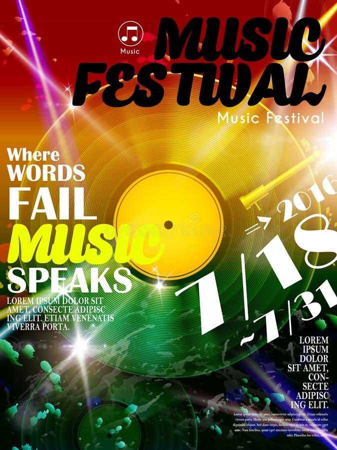 De aantrekkelijke affiche van het muziekfestival stock illustratie