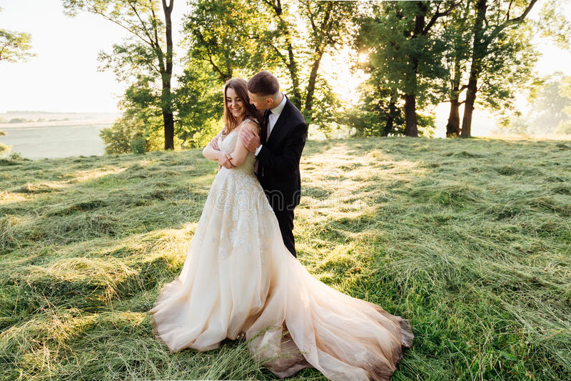 De aantrekkelijke bruidegom houdt bride& x27; s schouders teder stock foto