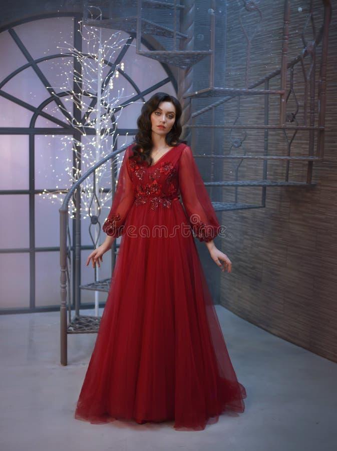 De aantrekkelijke die prinses in toren, gekleed in een luxueuze rode dure lange koninklijke kleding wordt gesloten, haar donker h stock afbeelding