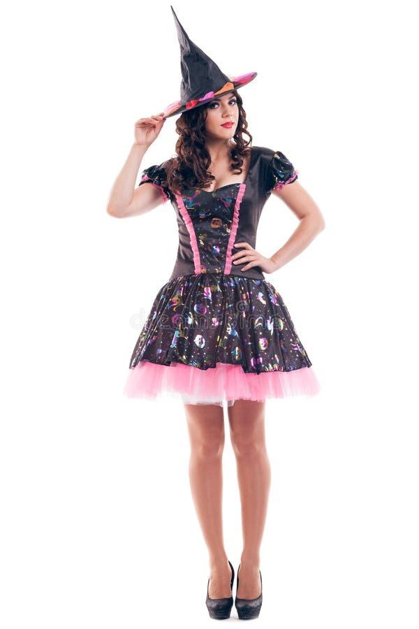 De aantrekkelijke jonge donkerbruine vrouw kleedde zich als fee royalty-vrije stock afbeelding