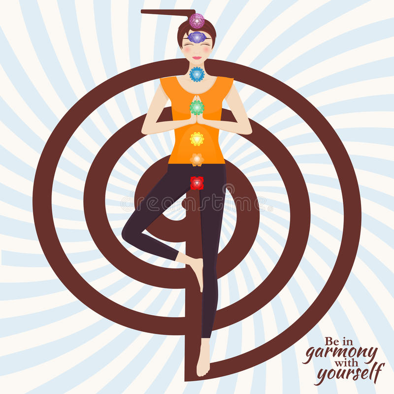 De aantrekkelijke jonge meisje het praktizeren boomyoga stelt vector illustratie