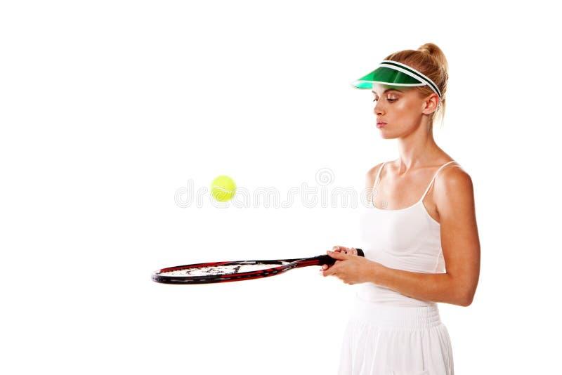 De aantrekkelijke speler van het vrouwentennis stock foto's