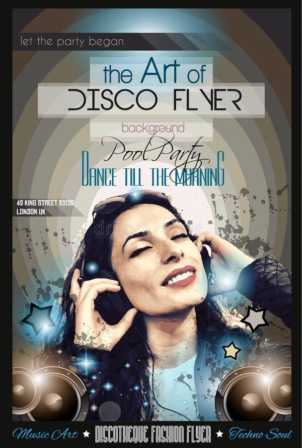 De aantrekkelijke Vlieger van de Clubdisco met een Meisje DJ die aan muziek luisteren royalty-vrije illustratie