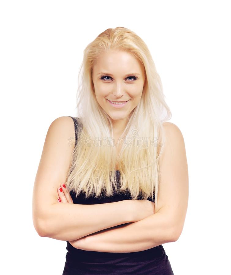 De aantrekkelijke Vrouw van de Blonde in een Studio royalty-vrije stock afbeelding