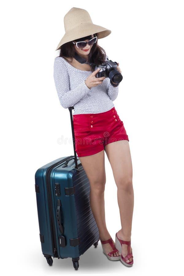 De aantrekkelijke vrouwelijke toerist isoleerde 1 royalty-vrije stock foto's
