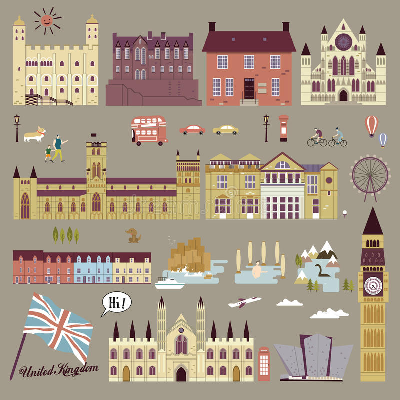 De aantrekkelijkhedeninzameling van het Verenigd Koninkrijk vector illustratie