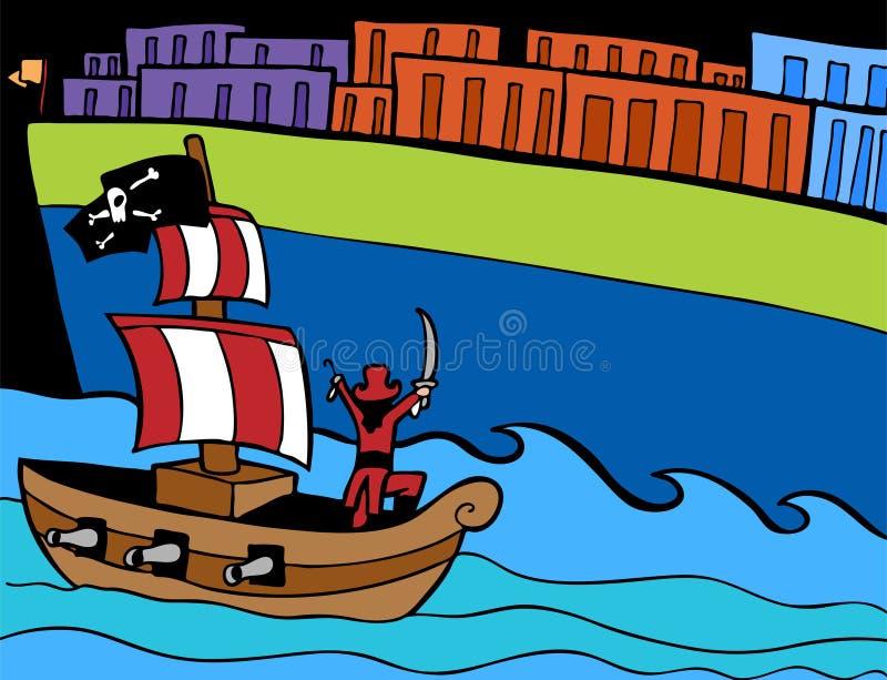 De Aanval van de piraat vector illustratie