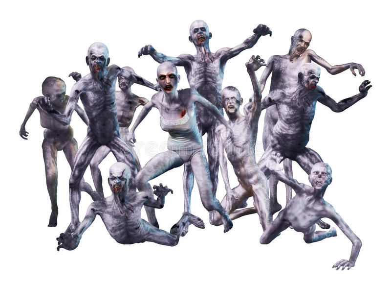 De Aanval van de zombiemenigte stock foto's
