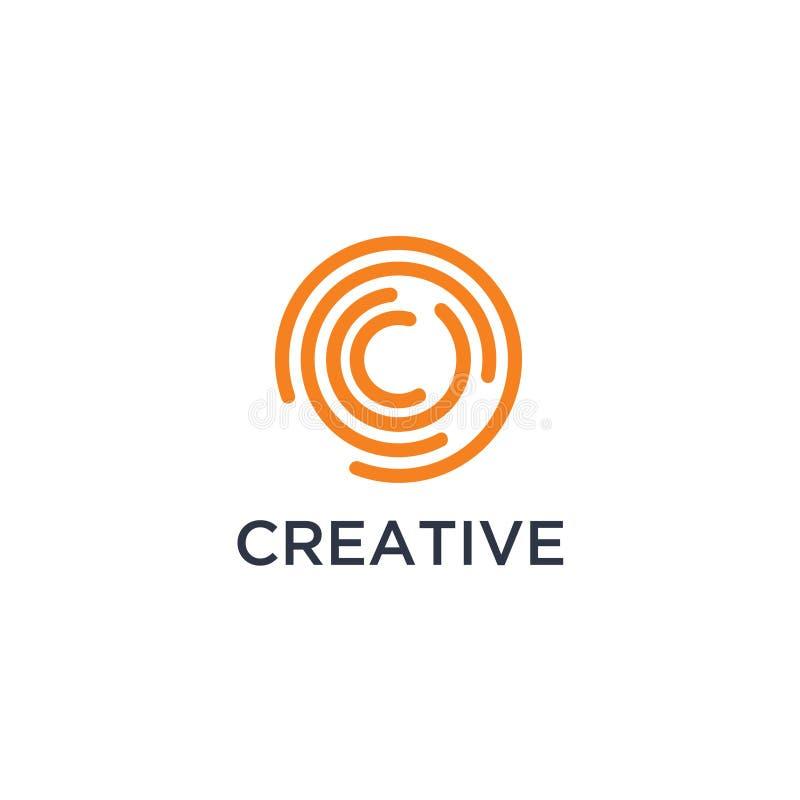 De aanvankelijke kleine letter c, kromme maakte embleem, gradiënt trillende kleurrijke glanzende kleuren op witte achtergrond ron vector illustratie