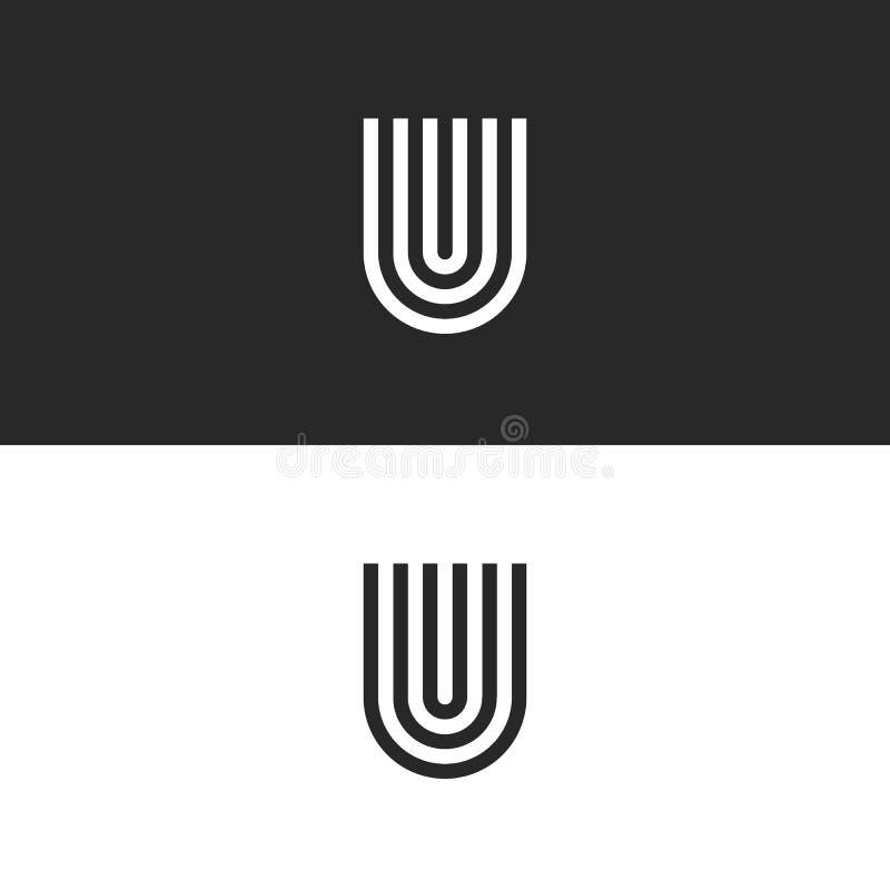De aanvankelijke van het het embleemmonogram van U van de hipsterbrief hoefijzervorm, zwart-wit vastgesteld teken UUU voor adresk royalty-vrije illustratie