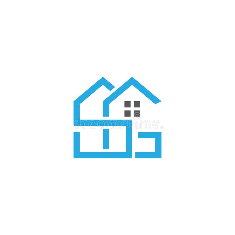 De aanvankelijke van het de onroerende goederenembleem van brievensg blauwe kleur eenvoudige moderne monoram vector illustratie