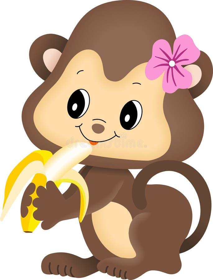 De aap die van het meisje banaan eet royalty-vrije illustratie