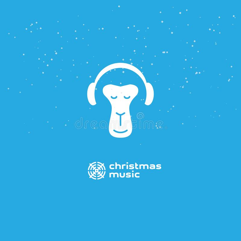 De aap geniet van de Kerstmismuziek Het ontspannen aap in hoofdtelefoons Embleem voor muziekstudio royalty-vrije illustratie