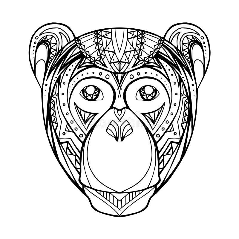 De aap van de illustratiekrabbel en bohopatroon royalty-vrije illustratie