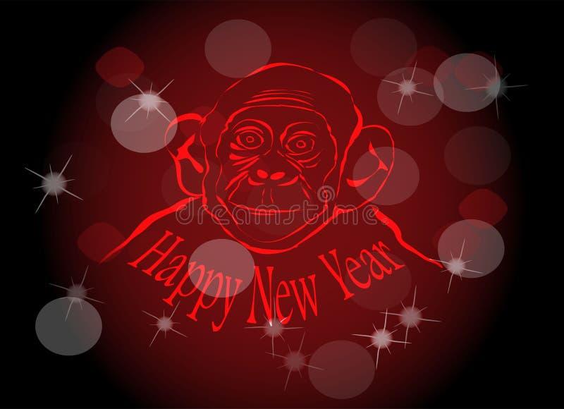 De aap van de nieuwjaarbrand stock illustratie