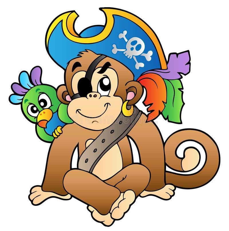De aap van de piraat met papegaai stock illustratie