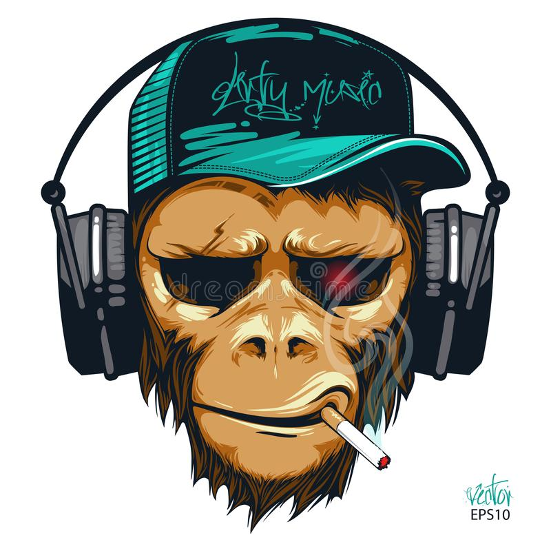 De aap van de muziekventilator hipster met hoofdtelefoons en sigaret De chimpansee van DJ vector illustratie