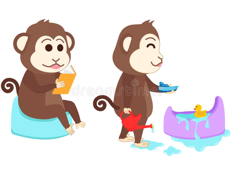 De aapzitting op onbenullig las een boek en het spelen royalty-vrije illustratie