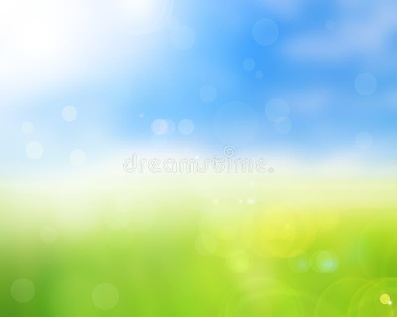 De aard groene lente met bokeh en vage achtergrond stock afbeelding