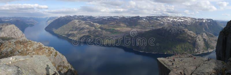 De aard, Preikestolen en Lysefjord van Noorwegen royalty-vrije stock foto's