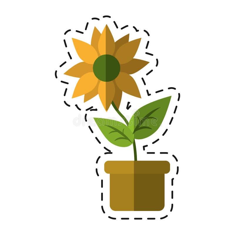 De aard van de de bladerentuin van de bloempot - gesneden lijn stock illustratie